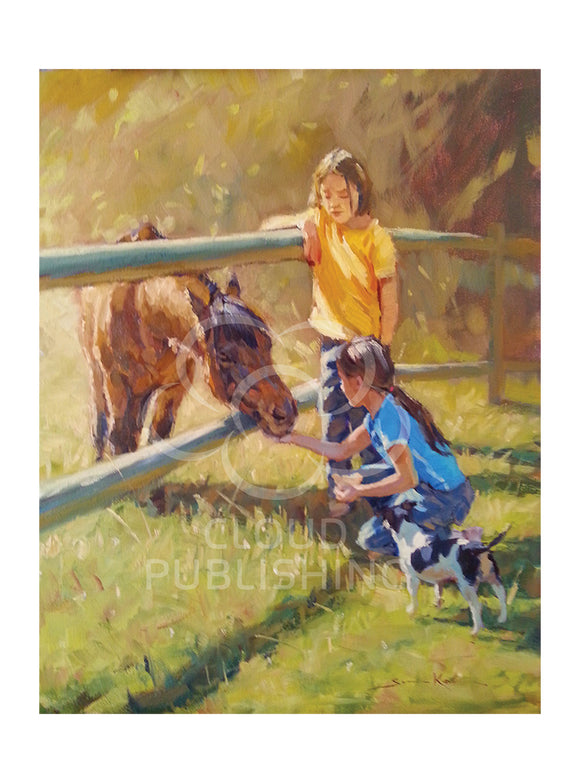 Two young girls feeding their pony called Gumnut depicted on a greeting card painted by their father Australian artist Sima Kokaev and published by Cloud Publishing