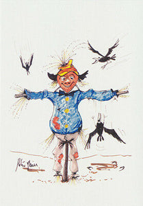 "Greeting card of a Scarecrow titled ""Go the Crows"" by artist PJ Hill and published by Cloud Publishing"