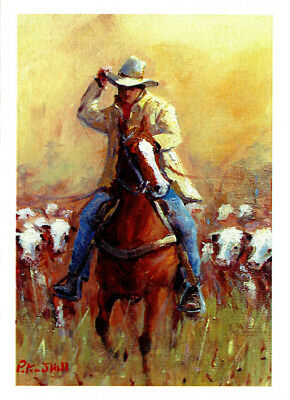 Greeting card of a drover and Herefords by artist PJ Hill published by Cloud Publishing
