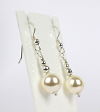 Jewelry on a greeting card. Bridal gift sterling silver & Swarovski Crystal Pearl earrings