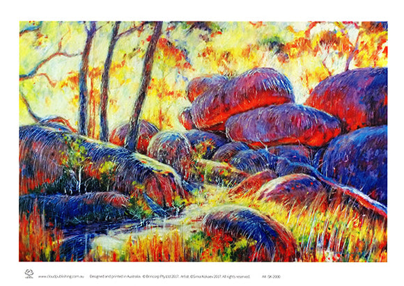 Cathedral Rocks National Park Australian landscape A4 unframed print by Australian artist Sima Kokaev and published by Cloud Publishing