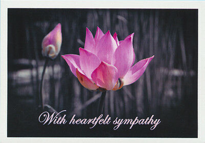 Greeting card of a mauve lotus flower with a message of heartfelt sympathy from Cloud Publishing