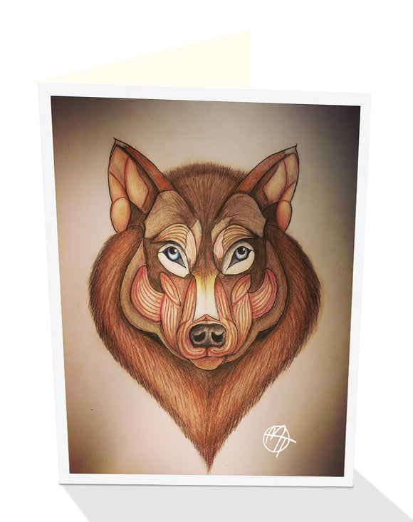 Brown wolf greeting card from a drawing by Matt Tanner and published by Cloud Publishing