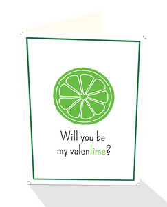 Will you be My Valenlime greeting card for Valentine's Day.