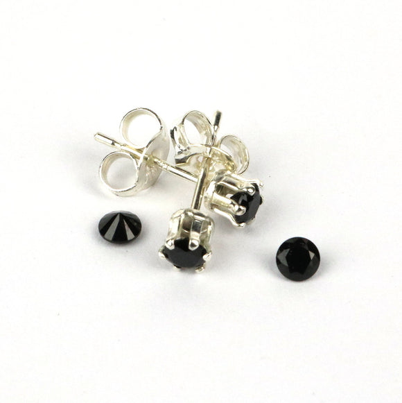 3mm Black Spinel gemstone sterling silver stud earrings. Tiny earrings