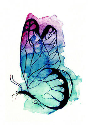 Butterfly greeting card in blue and mauve  from an original watercolor by Glenda Gilmore. Published by Cloud Publishing