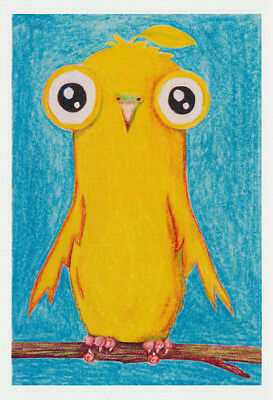 Greeting card of a yellow tweetie bird with big black eyes by artist Jon Howarth