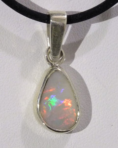 Lightning Ridge Red Gold Green Mauve Vibrant Light Australian Opal Sterling Silver Pendant & cord