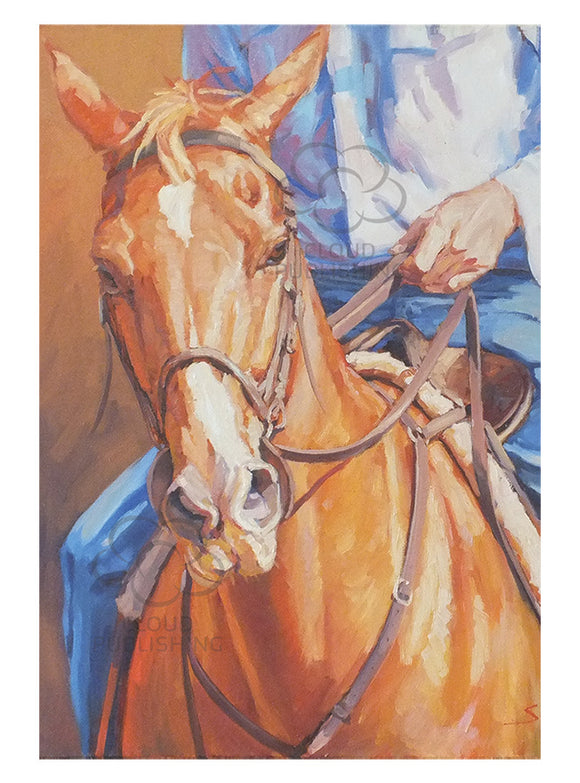 Cowboy riding chestnut horse greeting card by artist Sima Kokaev and Cloud Publishing