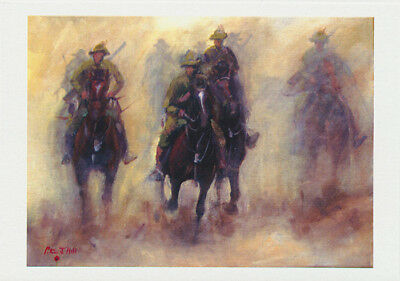 Australian Light Horsemen in battle charge greeting card by Australian artist Peter Hill and published by Cloud Publishing