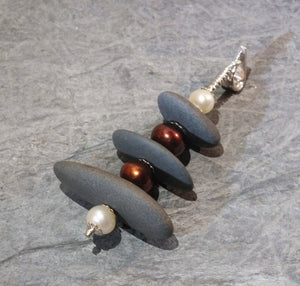 Beach Stone and Pearl Cairn style Pendant with Sterling Silver Wire, beads and Santoprene Cord. A touch of Zen