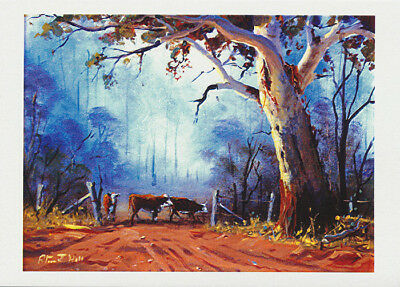 Australian landscape showing cattle by the gate under a large gum tree by Australian artist Peter Hill and published by Cloud Publishing