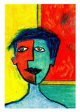 multi coloured portrait greeting card of someone going to the art gallery by artist Sally Pryor