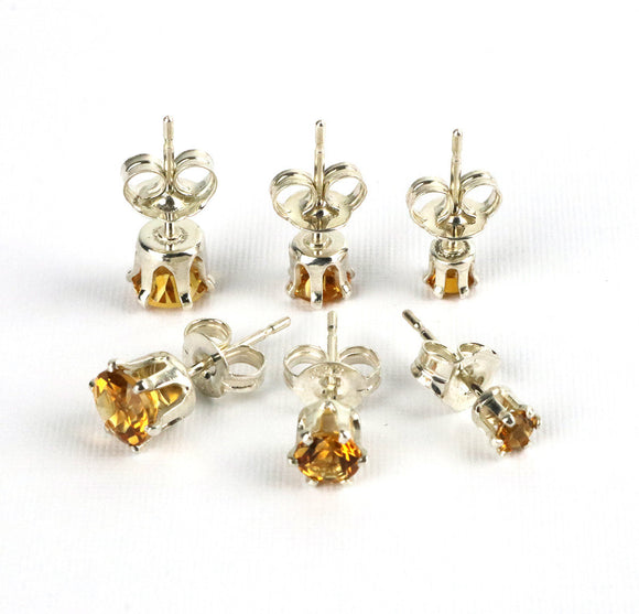 Citrine gemstone stud earring set 3mm, 4mm and 5mm sterling silver November birthstone