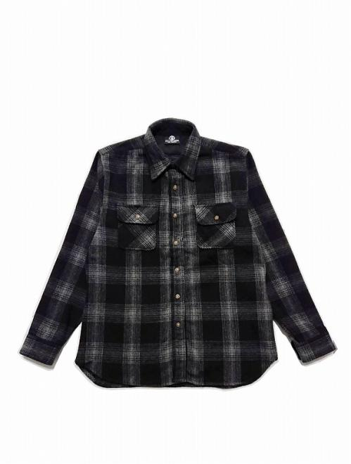 CROSS FLANNEL SHIRT/BLACK (BRUSHED)