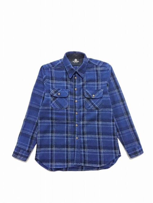 CROSS FLANNEL SHIRT/BLUE (BRUSHED)