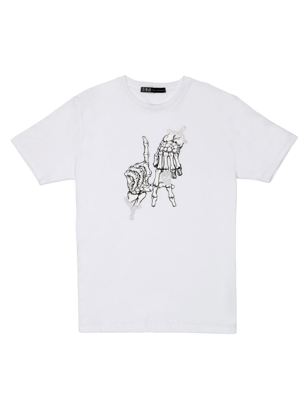 【4day's Special】HAND SIGN SWAROVSKI T-SHIRT/WHITE