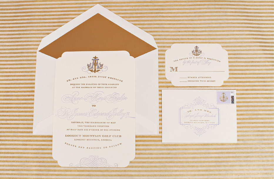 Custom Monogram Southern Wedding Invitaiton