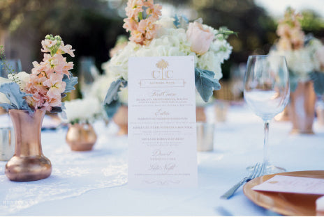 Monogrammed Wedding Reception Menu