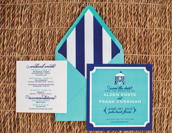 Cabana Stripes Save The Dates