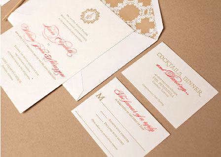 Custom Chicago Letterpress Wedding Invitation