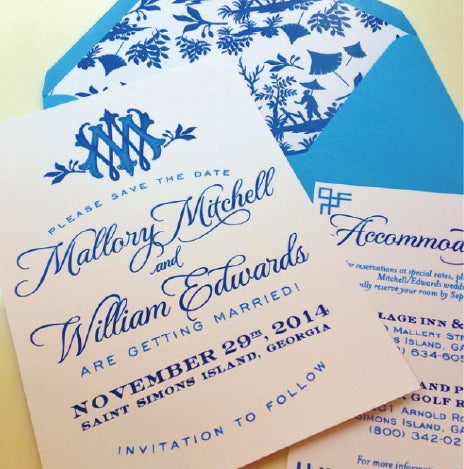 Preppy blue and White Save the Date
