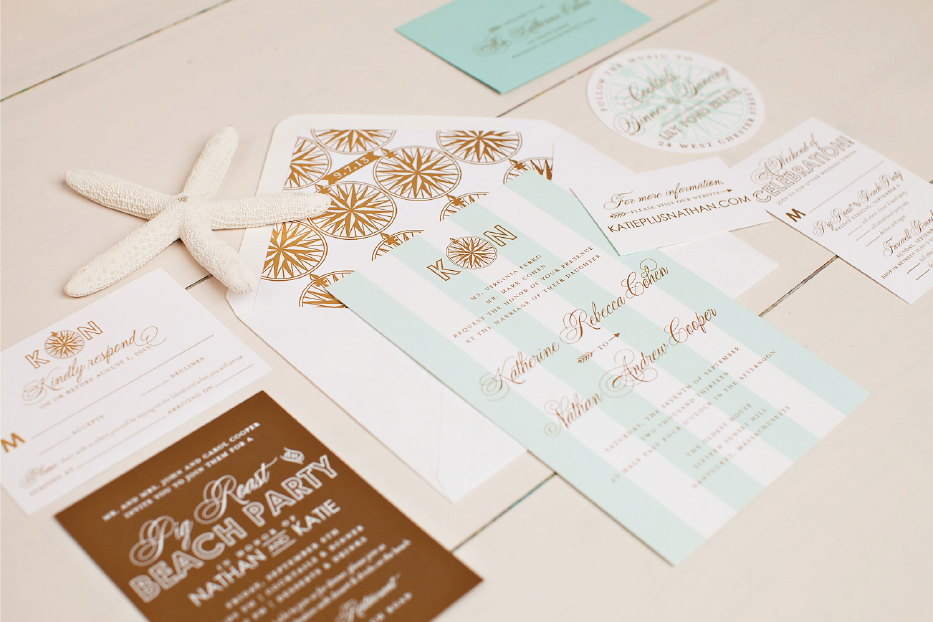 Nico and LaLa | Gold Foil and Aqua Nantucket Wedding Invitations