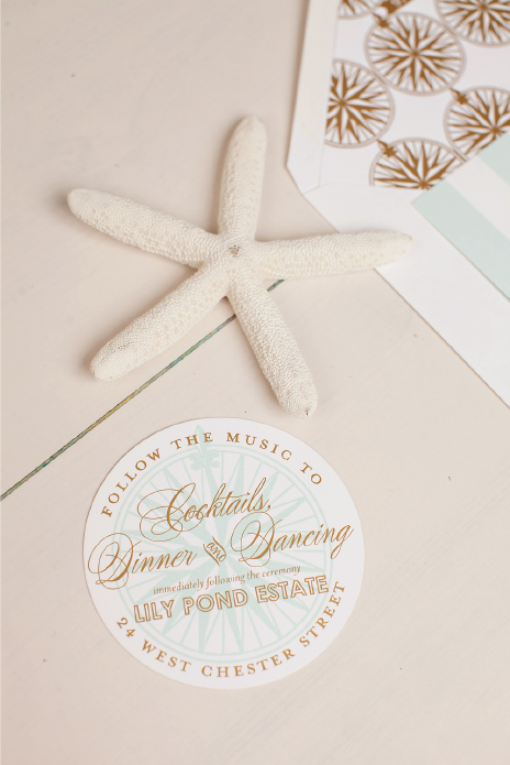Nico and LaLa | Round Gold Foil Reception Card