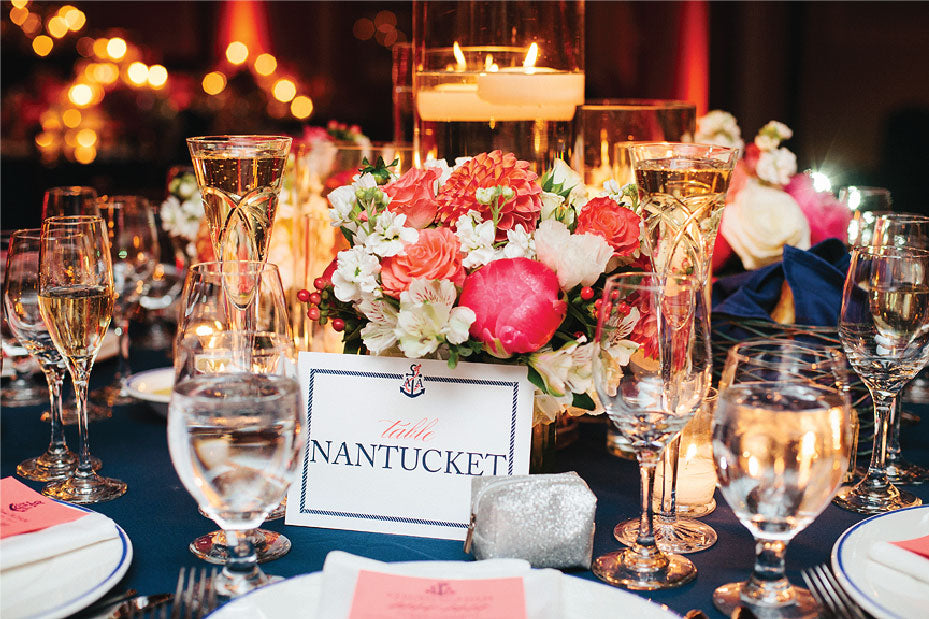 Nantucket Red and White wedding tablescape