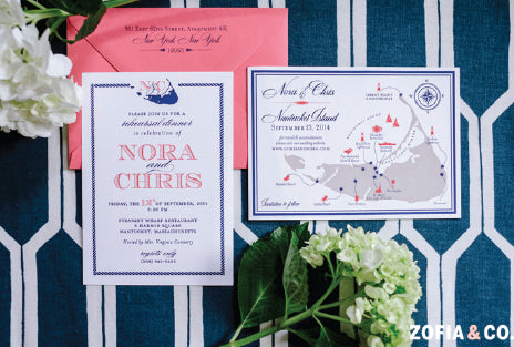 Nantucket Wedding Invitation Monogram
