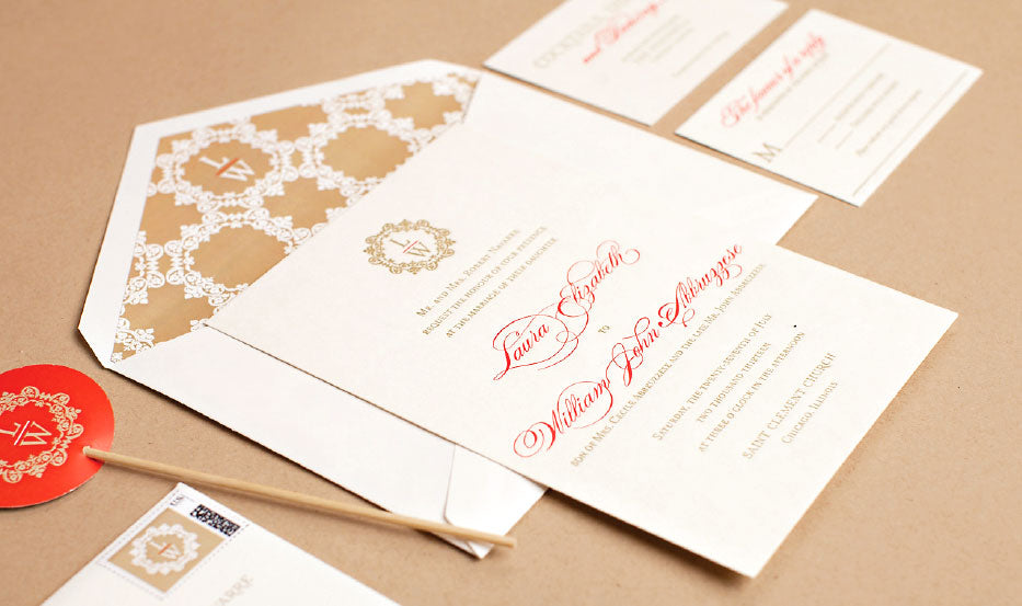 Custom Monogram Wedding Invitation