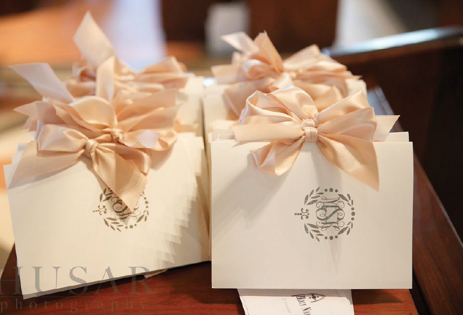 Elegant Wedding Programs with Bow