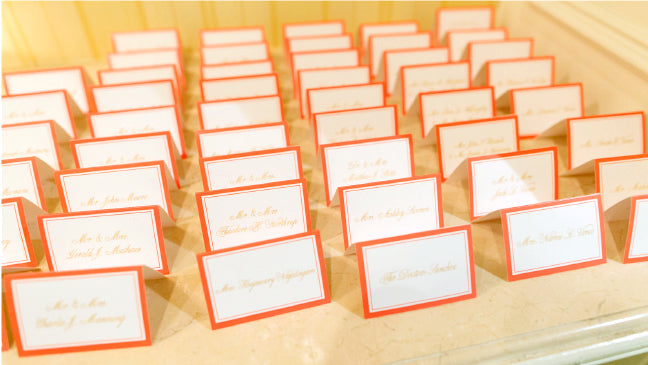 Coral Gold Wedding Escort Cards