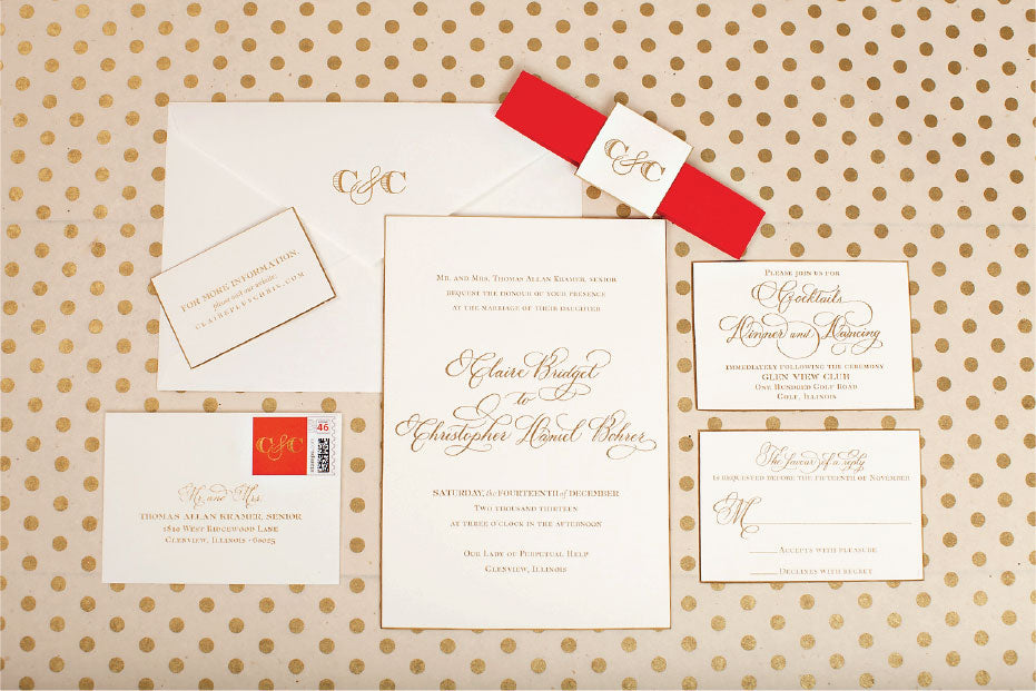 Gold Foil and Beveled Edges Wedding Invitations