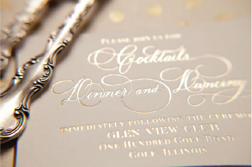 Gold Foil Calligraphy Reception Card