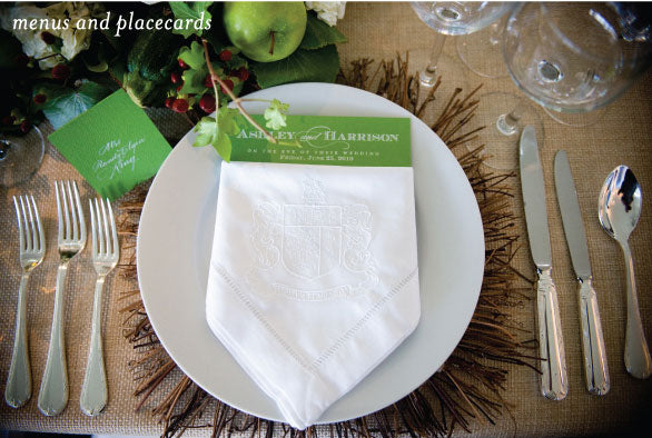 Kelly Green Menus and Placecards