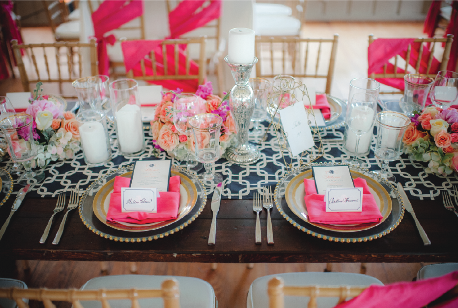Coral and Navy Wedding Tablescape