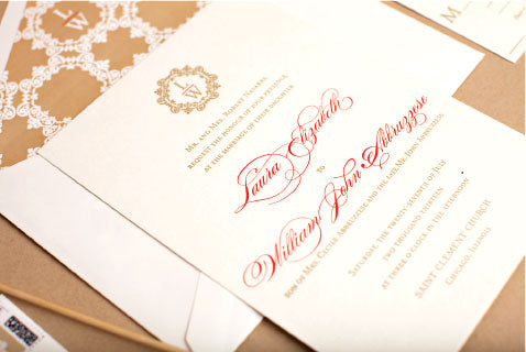 Monogrammed Letterpress Wedding Invitation