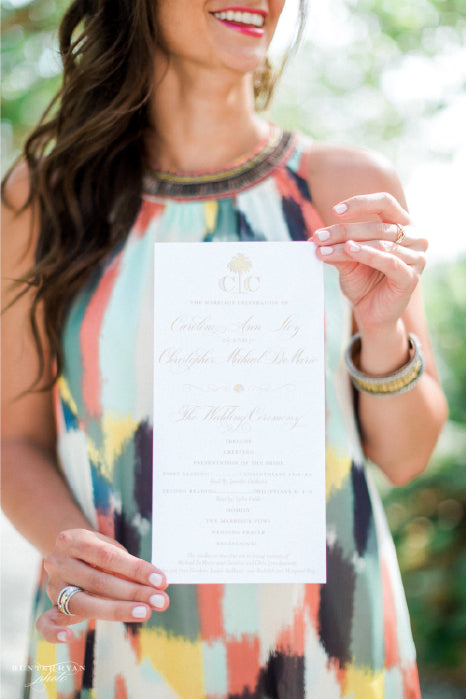 Blush Monogrammed Wedding Ceremony Program