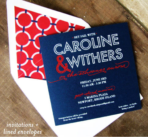 Foil Stamp Nautical Wedding Invitation