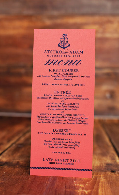 Coral and Navy Anchor Wedding Menu