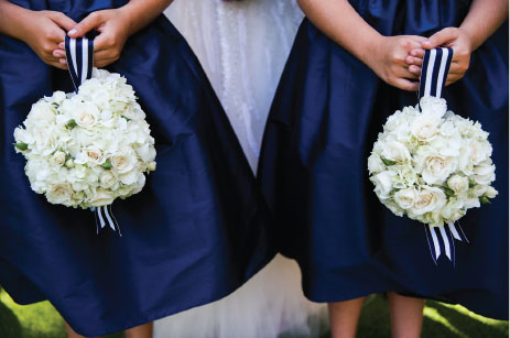 Navy Stripe Flower Girl Bouquets