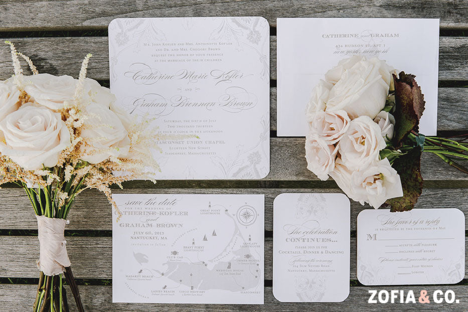 Neutral Nantucket Wedding Invitation Suite