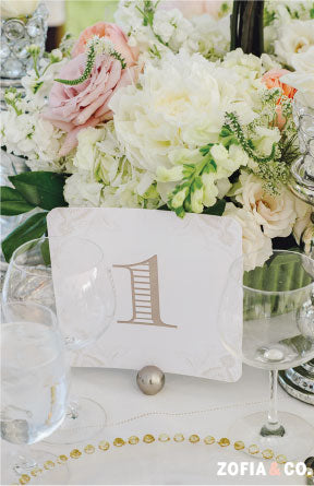 Neutral Table Number Wedding Reception