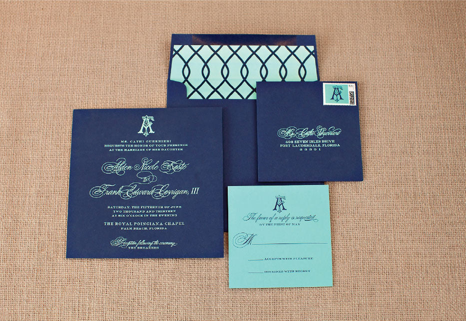 Palm Beach Preppy Wedding Invitations