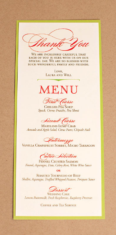 Chicago Wedding Reception Menu