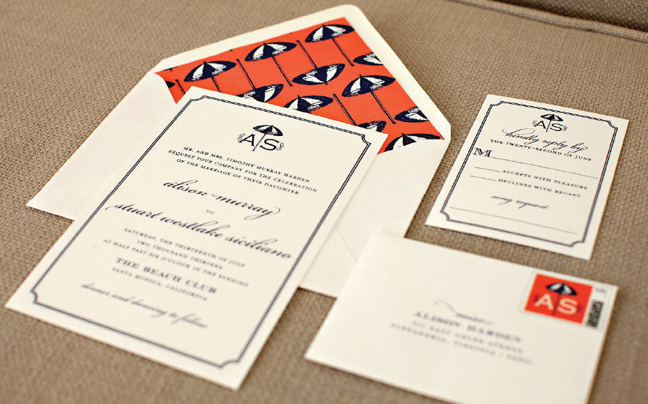 Custom Preppy Beach Wedding Invitations