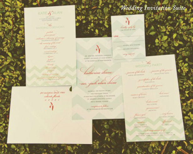 Preppy Coastal Wedding Invitation Suite