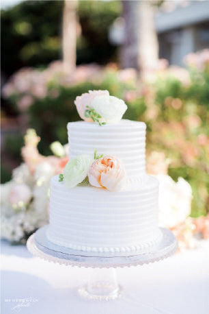 White, Blush Floral Wedding Cake