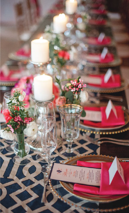 Charleston Wedding Table Scape in Navy and Coral